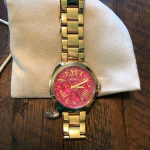 Fossil Cecile Gold Tone Watch with Pink Dial